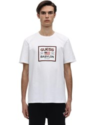 Guess Babylon Logo Cotton Blend T Shirt White