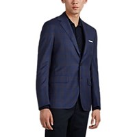 Sartorio Plaid Wool Two Button Sportcoat Blue