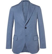 Massimo Piombo Mp Blue Slim Fit Cotton And Linen Blend Twill Suit Jacket Blue