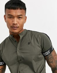Sik Silk Siksilk Muscle Fit Short Sleeve Shirt In Khaki Green