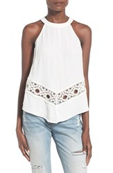 Women's Astr Halter Neck Crochet Tank White