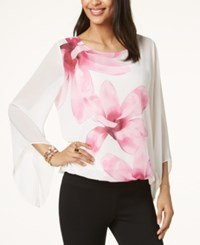 Alfani Petite Printed Angel Sleeve Top Created For Macy's White Flower Trail