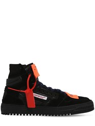 Off White Court High Top Suede Nylon Sneakers Black