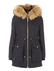 Jane Norman Double Zip Hooded Parka Black