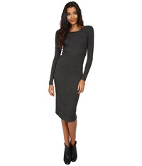 Only Books Long Sleeve Ribbed Dress Dark Grey Melange Women's Dress Black