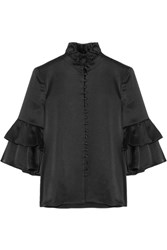 Co Ruffle Trimmed Satin Blouse Black