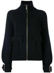 Burberry Buckle Cuff Ribbed Zip Cardigan Women Cashmere Wool M Black