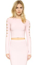 Cushnie Et Ochs Long Sleeve Slashed Crop Top Light Pink