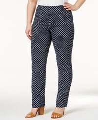 Charter Club Plus Size Cambridge Geometric Print Pants Only At Macy's Deepest Navy Combo