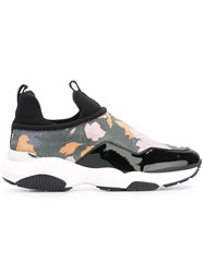 Salvatore Ferragamo Flower Print Sneakers Black