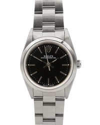 Rolex Pre Owned 26Mm Oyster Perpetual Automatic Bracelet Watch Black Steel