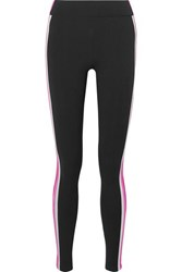 No Ka' Oi Ka'oi Verticle Striped Stretch Leggings Black