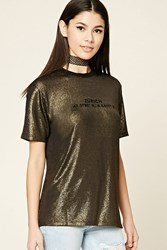 Forever 21 Glitter Knit Zurich Graphic Tee Black Gold