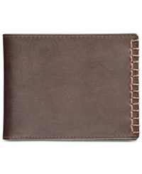 Calvin Klein Men's Blanket Stitched Billfold Brown Brn