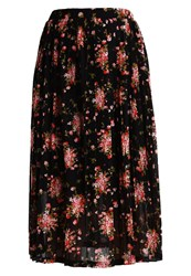 Y.A.S Yas Yassmall Flower Pleated Skirt Black