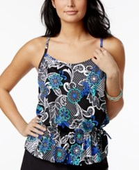 Swim Solutions Garden Lace Printed Peplum Underwire Tankini Top Women's Swimsuit Blk