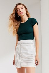 Urban Outfitters Uo Contrast Striped Mini Skirt Neutral Multi