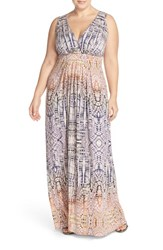 Plus Size Women's Tart 'Chloe' Print Empire Waist Jersey Maxi Dress Sunset Lattice