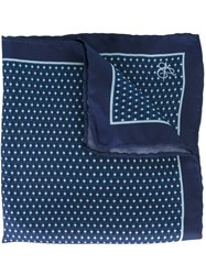 Canali Printed Pocket Handkerchief Blue