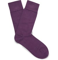 John Smedley Sedley Ribbed Cotton Blend Socks Purple