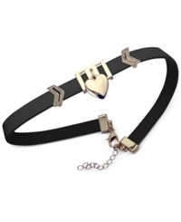 Guess Rose Gold Tone Imitation Leather Heart Charm Choker Necklace Black