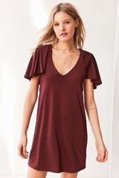 Silence And Noise Whitney Strong Shoulder Dress Maroon