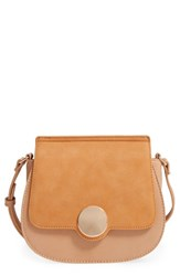 Sole Society Rowen Faux Leather Crossbody Bag Brown Camel Combo