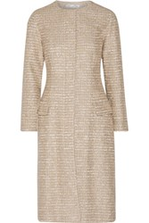 Oscar De La Renta Metallic Tweed Coat Sand
