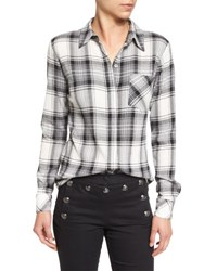 Veronica Beard Poppy Long Sleeve Plaid Button Front Shirt Black Gray White Blackk Grey White