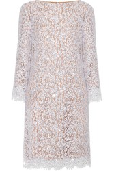 Michael Kors Collection Crystal Embellished Cotton Blend Corded Lace Dress White