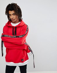 Sixth June Oversized Hoodie In Red With Taping