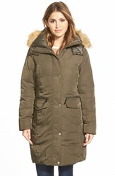 Women's Marc New York 'Warby' Faux Fur Trim Long Down And Feather Fill Parka Loden