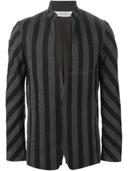 Individual Sentiments Striped High Collar Blazer