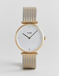 Cluse Triomphe Cl61002 Mixed Metal Mesh Strap Watch Gold