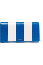 Balenciaga Striped Textured Leather Wallet Blue