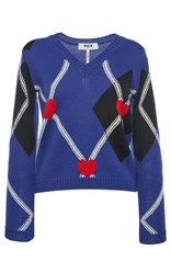 Msgm Argyle Heart Fitted Sweater Blue