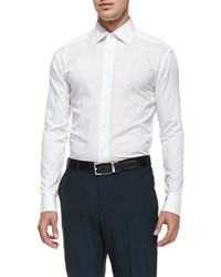 Ermenegildo Zegna Woven Poplin Dress Shirt White