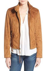 Women's French Connection Fringe Faux Suede Jacket Cognac