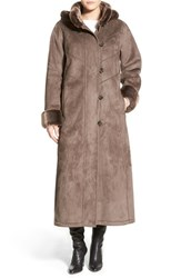 Women's Gallery Long Hooded Faux Shearling Coat Smoke