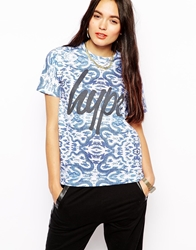 Hype T Shirt With Floral Porcelain Print And Logo Multi