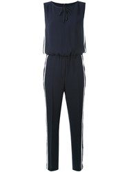 Luisa Cerano Striped Sides Jumpsuit Women Polyester 38 Blue
