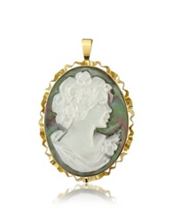 Del Gatto Woman Mother Of Pearl Cameo Pendant Pin Gold
