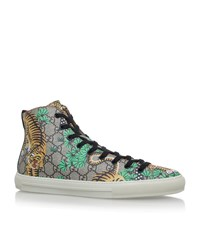 Gucci Tiger High Top Sneakers Male Brown