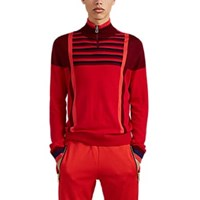 Paul Smith Colorblocked And Striped Merino Wool Quarter Zip Sweater Red