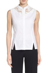 Women's Elie Tahari 'Nora' Lace Yoke Blouse White