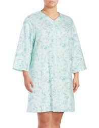 Miss Elaine Plus Quilted Mumu Zip Up Robe Green