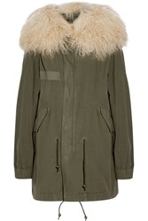 Mr And Mrs Italy Shearling Trimmed Cotton Canvas Parka Army Green