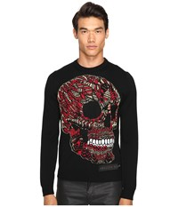 Philipp Plein Castle Pullover Black Red Men's Sweater