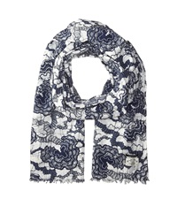 Scotch And Soda Cotton Voile Rock Scarf Navy White Scarves Blue