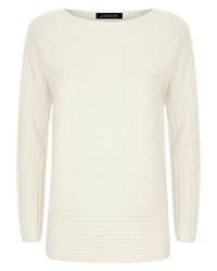 Jaeger Wool Contrast Ribbed Sweater White
